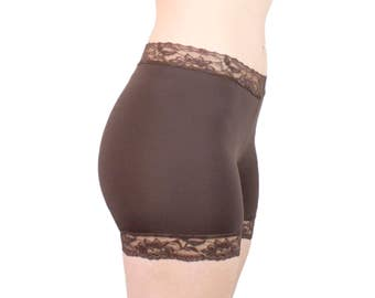 Lace Tap Pants Brown Skimmies Nylon Biker Shorts Basic Modesty Shorts Under Skirt Shorties