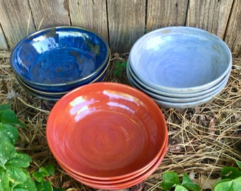 Handmade pasta bowl -  salad bowl - color choice - stoneware - pottery