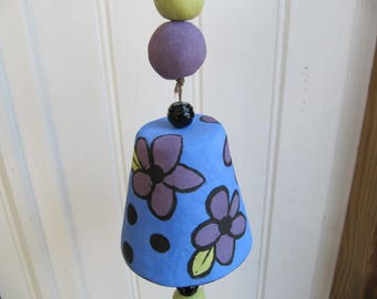 Whimsical handbuilt pottery clay folk art wind chime porch bell