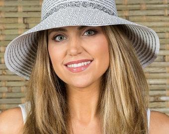 Hatch Hats Women's Poly Braid Sunhat Summer Travel Vacation Packable Wide Brim Gambler Safari Fedora Hat Silver/White