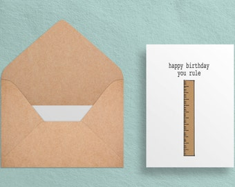 Printable Birthday Card - Happy Birthday - You Rule - Birthday Card - Pun//Witty -  Digital Download - Printable 5x7