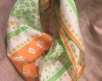 Vintage Sally Gee Silk and rayon oblong scarf. Japanese silk scarf. Green and orange silk and rayon scarf
