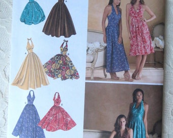 Simplicity 3823 Sewing Patterns Halter Dress Evening Gown with Bubble or Full Skirt Retro Style Size Women's Size H5 6-14