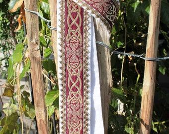 Handfasting * wedding * ritual * linen * Celtic braid, white * red * handmade