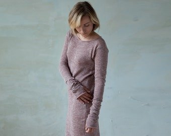 Linen knit dress long sleeved tunic with thumb holes - old rose pink ivory knit summer womens midi dress