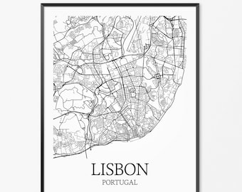 Lisbon Map Artwork Map of Lisbon Lisbon Portugal Map