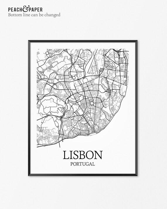 Lisbon Map Art Print Lisbon Poster Map of Lisbon Decor