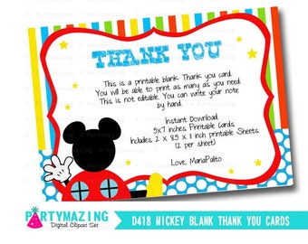 Mickey Thank you Cards, Printable Blank Thank you Cards,Vertical Thank You Cards, DIY Printable, Instant Download  HBMC1 -D419