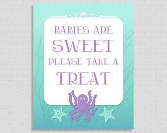Babies Are Sweet Please Take a Treat Sign, Octopus Aqua & Purple Shower Sign, Baby Boy Favor Sign, INSTANT PRINTABLE