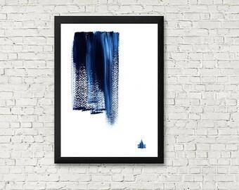 Abstract Gouache in dark blue, Wall Art, Printable Wall Art, Original abstract, Home Decor, Abstraction Minimalism,High Resolution files