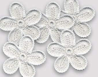 Crochet Flowers White flowers Crochet flowers 5.5 cm Flowers white crochet Flowers applique Crochet applique Handmade applique Flowers
