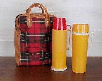Vintage Thermos Travel Set with Plaid Bag and Two Thermos