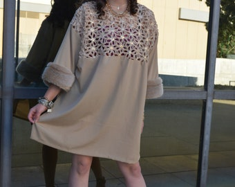 Charlotte: boat collared beige mini dress with faux accents