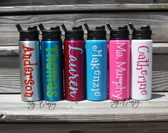 Personalized Water Bottle Aluminum Sports Bottle  28 ounce - Personalized Waterbottle - Sports Bottle