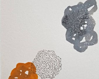 Floating Shapes in Flat Space / Mixed Media Drawing / Daily Drawing January 17, 2018