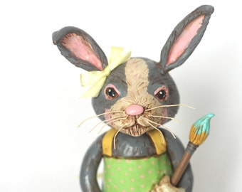 Spring Bunny paint brush apron and eggs folk art sculpture from polymer clay