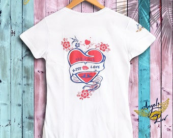 French love T Shirt Women • Heart Tee •T shirt women heart • Love T shirt Print • Gift for Her