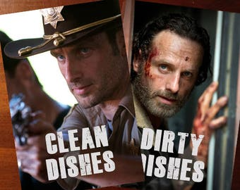 """Walking Dead Reversible Magnetic Dishwasher Sign   Geek Kitchen   Clean Dirty Magnet   """"Clean"""" """"Dirty"""" Rick Grimes   Andrew Lincoln"""