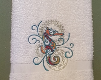Machine Embroidered Seahorse Hand Towel