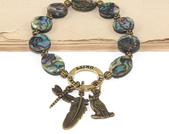 Paua Shell Bracelet, New Zealand Abalone Beads with Brass Unity Charms