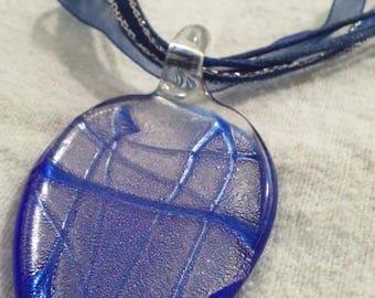 Blue Glass Pendant Necklace