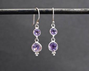 Amethyst Earrings, Silver and Amethyst Earrings, Amethyst Drops, February Birthstone, Birthstone Earrings, Faceted Amethyst Sterling Silver