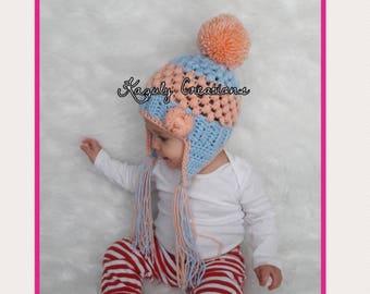 Choose your color baby pom pom hat , baby girl ear flap beanie , child pom pom ear flap hat , crochet winter baby girl hat , crochet hat