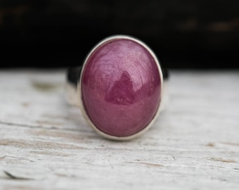 Ruby Ring Size 7.5 - Natural Ruby Cabochon Sterling Silver Ring - Ruby Ring - Genuine Ruby - Ruby Jewelry - Ruby Ring - Ring size 7.5 - Ruby