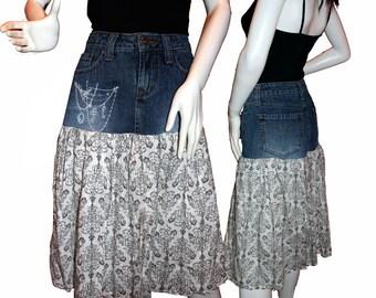 ON SALE!   Upcycled Jean Skirt (4-6), Altered Denim Skirt, Eco-Friendly Clothing, Boho Skirt