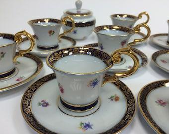 SAXE-Coffee Service for 8 in fine porcelain-Edges Décor Gold-Cobalt Blue Porcelain