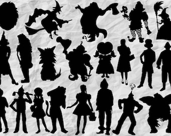 18 Wizard of Oz Silhouettes, SVG cut files, printable, instant download, vector cliparts