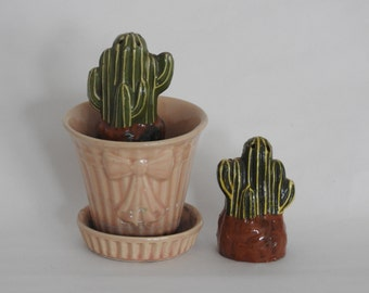 Cactus Pottery Salt and Pepper Shakers- Handmade Mexican Pottery