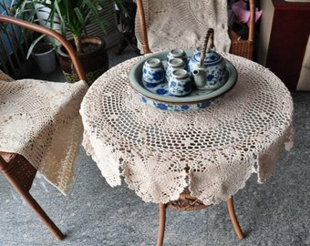 """35.5"""" Round table cover, vintage style round tablecloth, hand crocheted tablecloths, handmade floral table cover table topper for home decor"""
