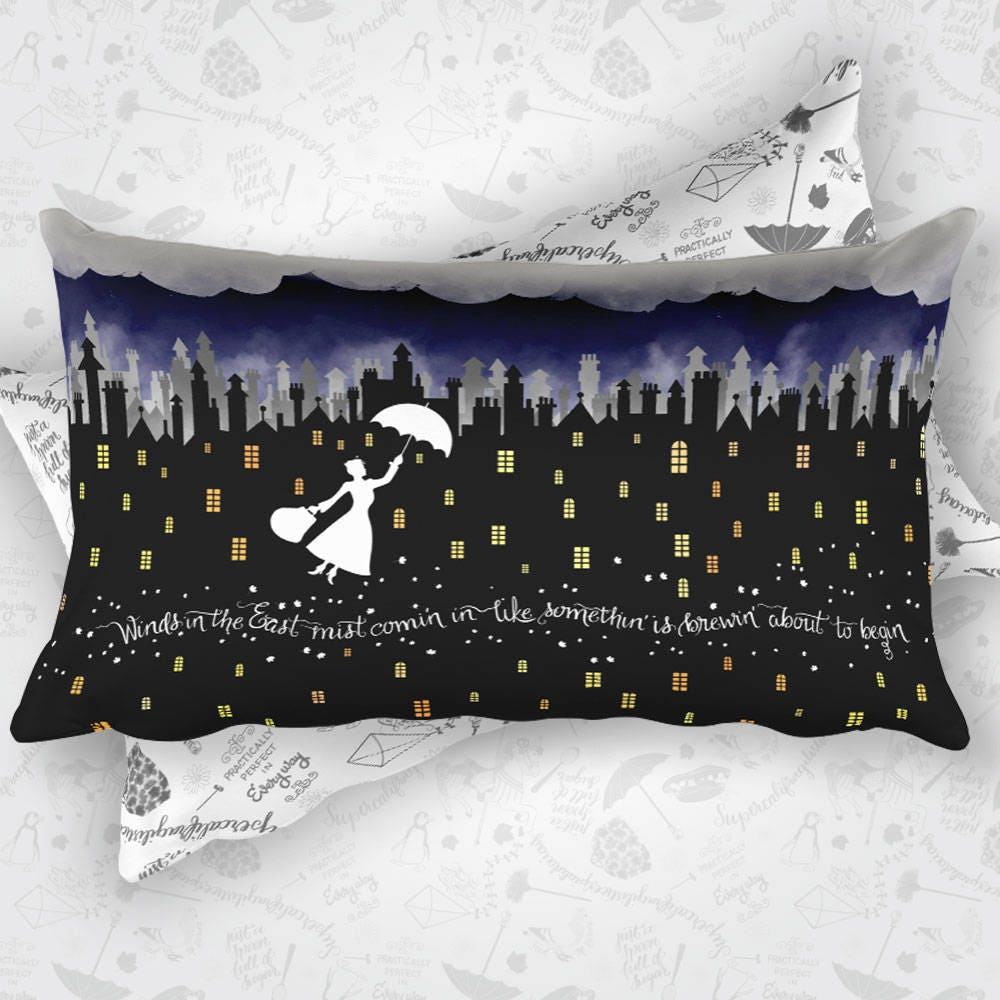 Mary Poppins Rectangular Pillow Case w/ stuffing | Double Sided Design | 20 x 12