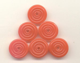 15,16, 17mm range, Tom's lampwork opaque carrot red 2 disc spacer/drops set, 1 pair 95524-1C