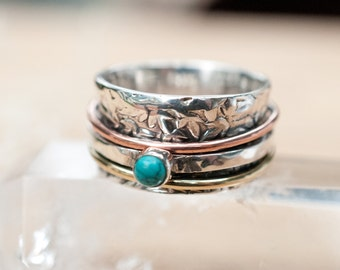 Spinner Ring Turquoise* Meditation Ring Pearl * Spinning Ring* Statement Ring* Spin Ring*Worry Ring*Mix Metals Ring* Silver Ring BJS010