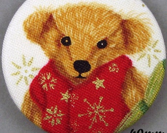 Fabric - Christmas bear button - Christmas Teddy Bear - 40mm - (40-11)