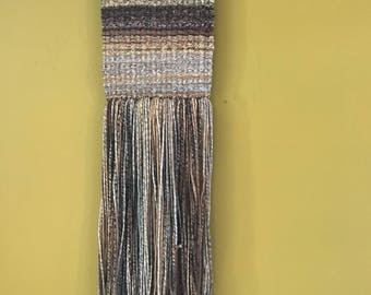 Handwoven / Wall Hanging / Fiber Art / cozy sweater / browns / blues