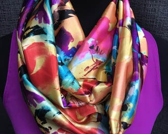 Fall Scarf, Colorful Infinity Scarf, Floral Scarf, Fashion Scarf, fall colors, Orange Scarf, Infinity Scarf, Loop Scarf, Circle Scarf