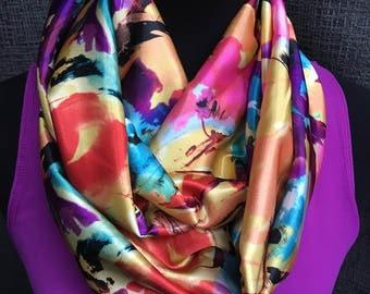 Caída de colorida bufanda Infinity, bufanda Floral, bufanda, bufanda de la manera, colores, bufanda naranja, Infinity bufanda, bufanda de lazo, círculo de la bufanda la caída
