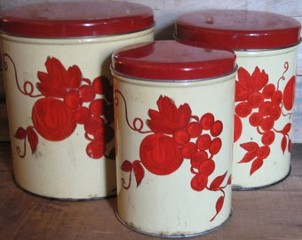 Vintage Country Kitchen Tin Canisters