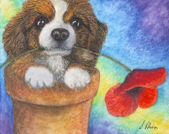 Pembroke Welsh corgi dog pup puppy 8x10 inch art print sable red flower pot poppy from a Susan Alison painting wild flower offering flower