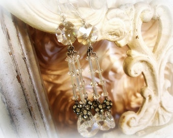 aBsolute magnitude one of a kind vintage assemblage earrings . chandelier crystals vintage rhinestones