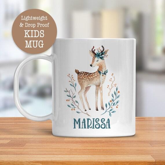 Kids Mug - Personalized Woodland Animal Deer Mug - Dishwasher Safe - Lightweight Drop Proof Cup for Kids - Plastic Mug for Kid