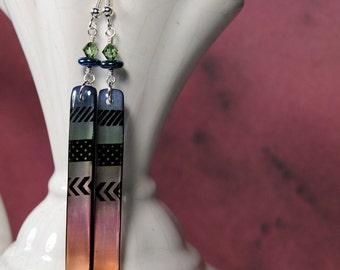 3 stripes  earrings, resin earrings, geometric earrings, gifts for her, gifts under 20