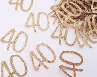 Glitter Number Confetti - 40th Birthday Confetti - Custom Age Confetti - Table Scatter - Gold Script Confetti - Gold Confetti - Confetti