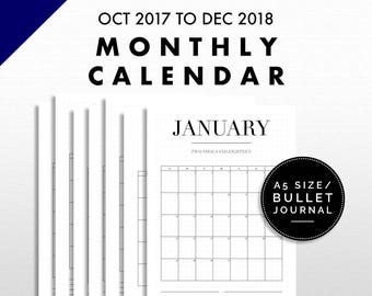 Monthly Calendar Printable | Bullet Journal / A5 Size | Minimalist Design