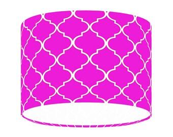 Fuchsia lamp shade etsy fuchsia moroccan handmade lampshade contemporary quatrefoil fabric lighting 2030 aloadofball Images