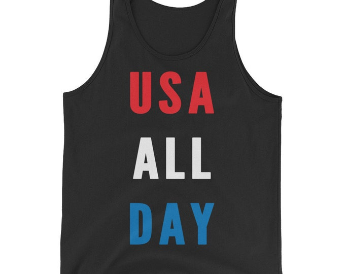 USA All Day Unisex Tank Top Shirt | Patriotic Shirt | Fourth of July Tank