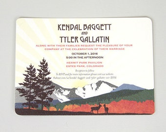 Fall Longs Peak Colorado Mountain Wedding Invite // 5x7 Wedding Invitation with A7 Envelope